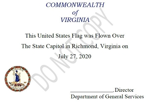 [Certificate] United States Flag Flown over the Capitol